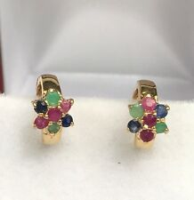 14k Solid Yellow Gold Kids Small Flower Hoop Earrings, Mix Sapphire Ruby Emerald