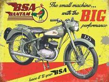 BSA Bantam, Big Performance Motorcycle, Vintage Old Garage Small Metal Tin Sign