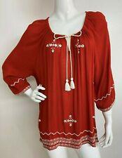 Women's New Plus 1X Rust White Embroidered Boho Peasant Blouse Shirt Tunic NWT