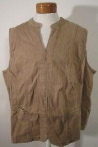 NEW Liz & Me by Catherines Womens Plus Size Denim Vest Driftwood Tan MSRP$50