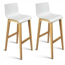 NEW 2 x Bar Stool Oak Wood Legs High Back Kitchen Shell Seat Cafe Dining Modern