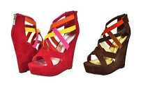 Bamboo Faux Suede Multi Color Strap Zip Back Wedge #Eliza-11