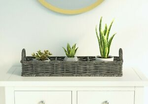 Handmade Rattan Long Storage Basket Organiser with 3 Compartments