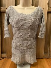 Anthropologie Pullover Sweater Blue Gray Woven short Sleeve Size Small
