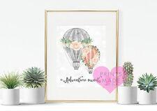 Adventure awaits hot air balloons wall art print new home gift traveller uni