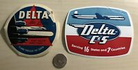 Lot of 2 Delta Airlines C&S Vintage Luggage Suitcase Sticker Decals Label