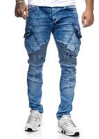 Herren Biker Jeans Destroyed Zipper Stonewashed Jeanshose Slim Fit John Kayna