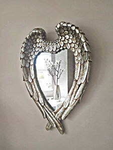 New Antique Silver Feather Effect Love Heart Wall Mirror Bedroom Hallway Vanity