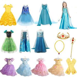 Prinzessin Halloween Kostüm Kinder Mädchen Elsa Cinderella Belle Cosplay Kleid
