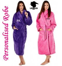 PERSONALISED Ladies Luxury Soft Fluffy Fleece Dressing Gown Robe Tie Belt -  Gift bbf54b312