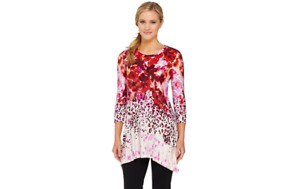 LOGO by Lori Goldstein 3/4 Sleeve Floral Animal Print Knit Top Pink Small A26323