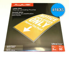 "GBC Letter Size (9"" x 11.5"") 3Mil Thick Thermal Laminating Pouches - 4 x 50 Pack"