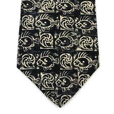 "Hugo Boss Mens Tie Necktie Made in Italy Black Beige Fish Shells 100% Silk 57"""