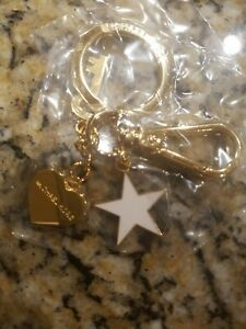 MICHAEL KORS Gold-Tone Key Chain Heart, Key, White Star