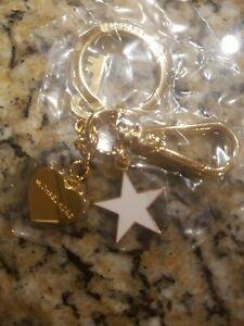 MICHAEL KORS Gold-Tone Key Chain Heart, Key, White Star