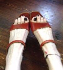 CYDWOQ Vintage Leather Handmade Red /Orange Sandals / Shoes ~ Size 38
