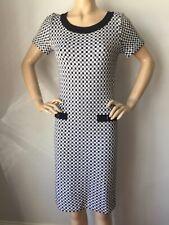 NWT St John Knit dress Size 10 black Caviar and white check wool rayon