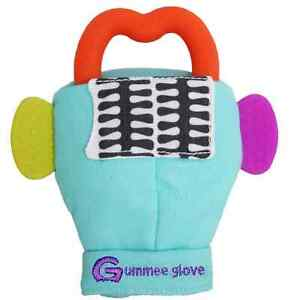 Gummee glove teething mitten Turquoise and Heart shaped ring