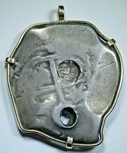 Guatemala Countermark 1698 Silver 8 Reales Gold Necklace Pendant Bezel Cob Coin