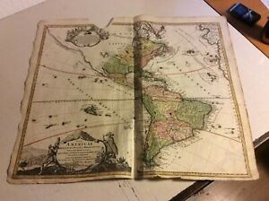 Nord-und Südamerika  Kupferstichkarte  Homann ca 1730 #PL8