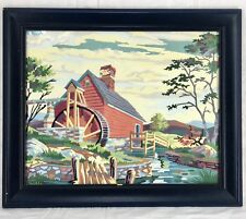 "MCM Paint By Number Painting Framed Water Mill Watermill Water Wheel 24"" x 20"""
