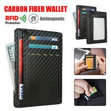 Mens RFID Blocking Leather Slim Wallet Money Clip Credit Card Holder Coin Pocket