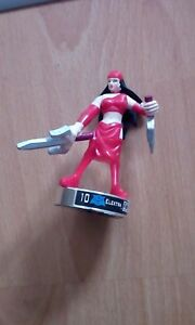 """Attacktix Marvel Action Figure """"Elektra"""" Silver Base - HTF With Spring Action"""