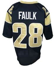 Rams Marshall Faulk Autographed Pro Style Blue Jersey BECKETT Authenticated