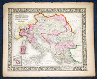 Origial 1860 Mitchell Map of AUSTRIAN EMPIRE &  ITALIAN STATES 12.5 X 15.25
