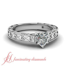 Solitaire Vintage Inspired Milgrain Diamond Ring With Heart Shaped 0.50 Carat