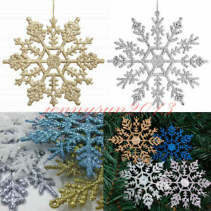 10x Glitter Hanging Christmas Flower Snowflake Baubles Tree Decoration