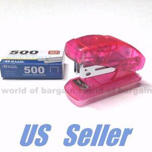 MINI STAPLER w/ 500 Staples School Office Paper Fastener Filing 26/6 Size C084