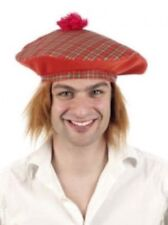 Scots Tam O'Shanter Red Tartan Cap Hat & Hair Wig Scottish Fancy Dress