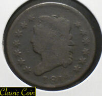 1814 U.S. Classic Head Large Cent 1c Copper Penny Tough Coin