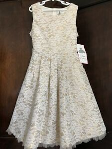 $84 Nwt RARE EDITIONS girls gold sparkly Christmas dress Ivory Lace Size 12