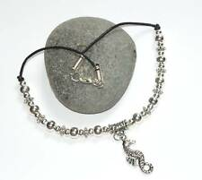 TIBETAN SILVER SEAHORSE &SILVER BEADS LEATHER  ANKLET