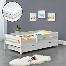 Kinderbett mit Matratze 70x140cm Juniorbett Rausfallschutz Bettkasten Bett Weiß