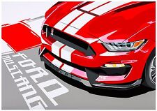 2017 Ford Shelby Mustang GT Sports Car Pop Art Limited Edition Signed Art Prints