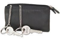 Rimbaldi® Schlüsseltasche mit Doppel-Fach in Schwarz aus naturbelassenem Leder