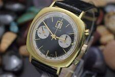 Vintage GLYCINE Chronograph Landeron 187 Panda Dial Gold Plaque Dress Watch