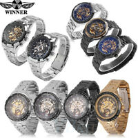 Winner Skeleton Dial Automatic Mechanical Watch Mens Stainless Steel Wrist Watch