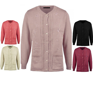 LONG SLEEVE CARDIGAN ROUND NECK CABLE KNIT BUTTON UP 2 POCKETS & 5 COLOURS