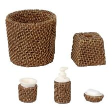 More details for dolls house miniature 1/12th scale modern wicker bathroom accessory set hw4057