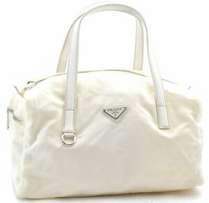 Authentic PRADA Nylon Leather Shoulder Hand Bag Ivory White E0665
