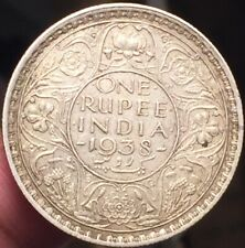 British INDIA 1938 One Rupee  SILVER  Key Date - Nice Details- Scarce-See Pics