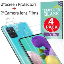 For Samsung Galaxy A21S A51 A71 Tempered Glass Screen Protector+Lens Protector