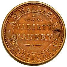 Bridgeport, Ct A.W. Wallace Variety Bakery, Union Civil War Token, High End Nr!