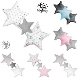 Set 3x Stern Kissen Sterne Kopfkissen für Kinder Baumwolle Minky Velvet handmade