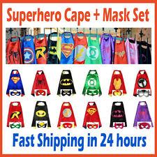 Kids Superhero Cape & Mask Boy Girl Party Costume Set Superman Batman Spiderman