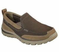 Brown Skechers Shoes Men's Comfort Slip On Casual Suede Loafer Memory Foam 64365
